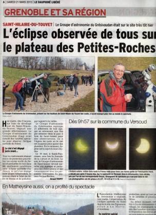 Sorties - Eclipse Solaire Partielle 2015 - St Hilaire du Touvet - 13